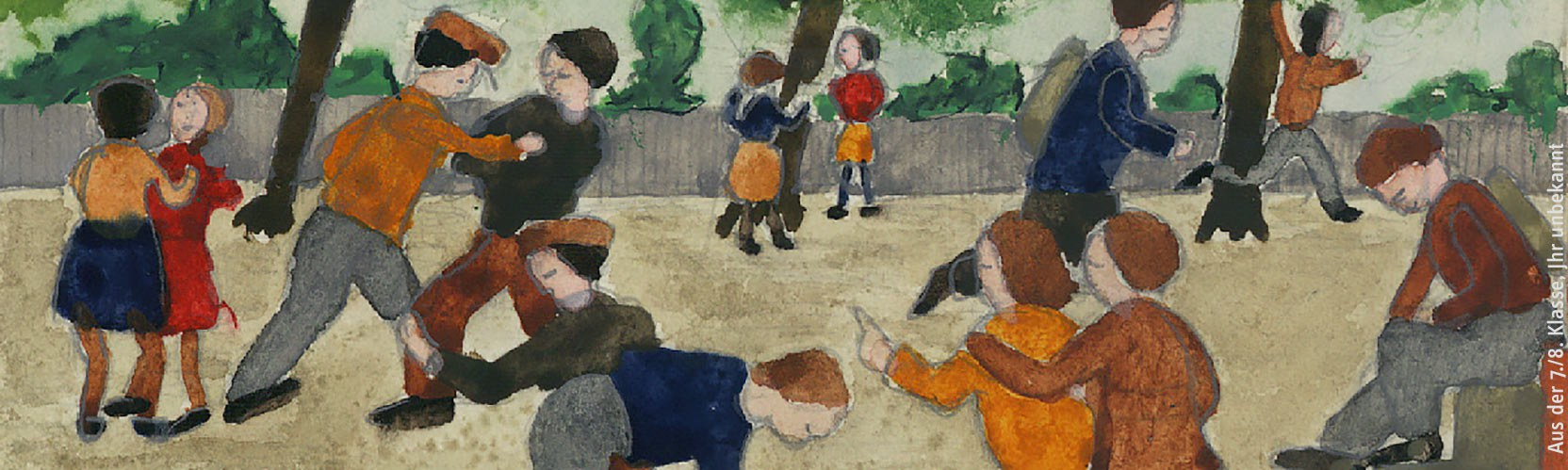 Student's piainting of the school yard scene